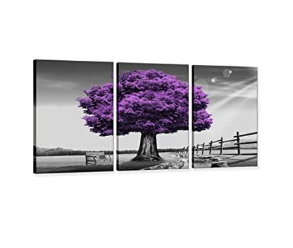 Amazon.com: Hua Dao Art- WSA0910 Canvas Prints Purple tree Framed ...