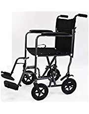 The Great Steel Transport Chair with spoked wheels, padded seating, vinyl arm supports, rear wheel locking, folding, lightweight wheelchair