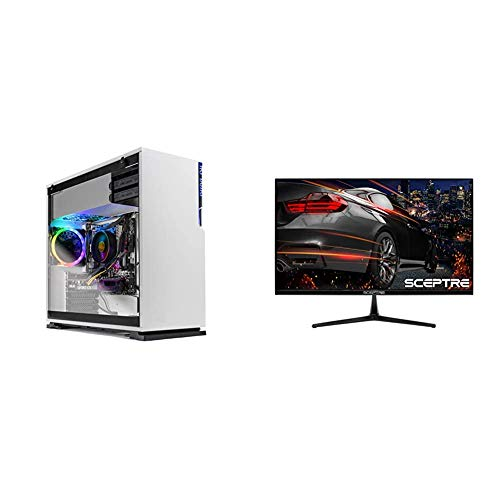 "Skytech Shiva Gaming PC Desktop & Sceptre E255B-1658A 25"" 165Hz 144Hz 1ms AMD FreeSync Gaming LED Monitor 2X HDMI 2.0 1x DisplayPort RTS FPS Build-in Speakers, Machine Black, Metallic Black"