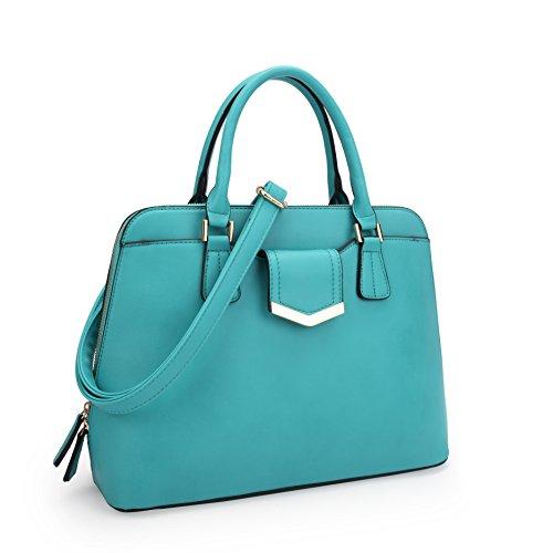 Dasein Designer Dome Satchel Top Handle Shoulder Bag Zip Around Purse Medium w/ Front Pocket Blue