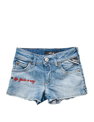 Replay 9 Oz Stretch Power Denim Girl's Shorts In Size 6 Years Blue by Replay