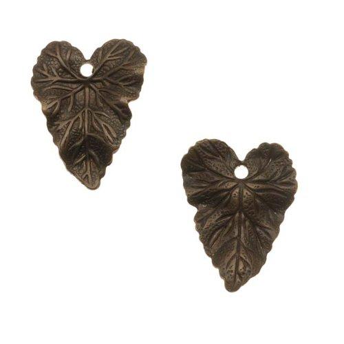 Brass Woodland Leaf - Vintaj Natural Brass Woodland Leaf Charms 18mm (2)
