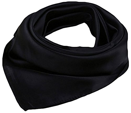 Women Satin Square Scarf Wrap Silk Feel Solid Color Hair Scarf Accessory 23