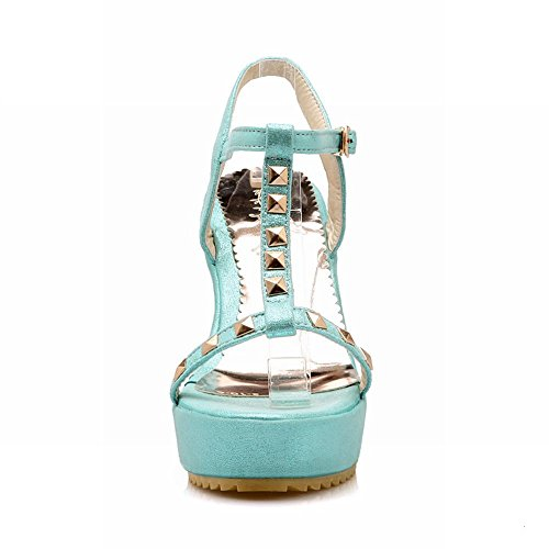 Carolbar Womens Buckle T-Strap Rivet Date Party Fashion Dress Platform Wedges Sandals Blue tN7mXxRW