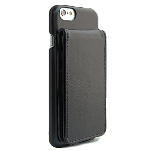iPhone 6 Black Classic Genuine Leather wallet case free screen protectors