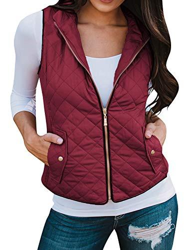 Ezcosplay Women Sleeveless Stand Collar Zip Lightweight Casual Jacket Vest Coat Wine Red