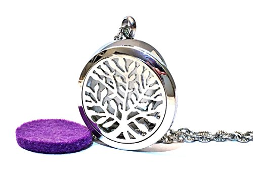 FIKA Tree of Life Premium Essential Oil Diffuser Necklace Pendant 316l Stainless Steel With Purple Pad