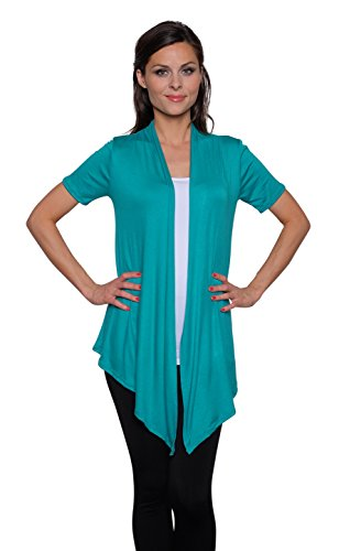 Free to Live Women's Short Sleeve Light Weight Open Front Cardigan (Medium, Jade)