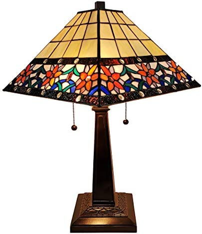 Tiffany Style Table Lamp Banker Mission 23 Tall Stained Glass Blue White Tan Brown Vintage Antique Light D cor Nightstand Living Room Bedroom Office Handmade Gift AM242TL14B Amora Lighting, Medium
