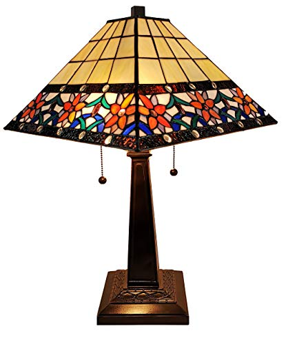 Tiffany Style Table Lamp Banker Mission 23 Tall Stained Glass Blue White Tan Brown Vintage Antique Light D cor Nightstand Living Room Bedroom Office Handmade Gift AM242TL14B Amora Lighting