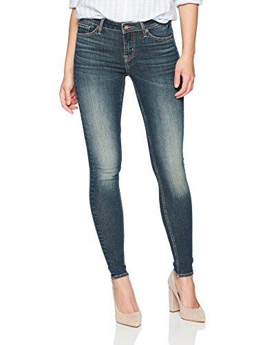 Denim Bloom Women's Low Rise Super Skinny Power Stretch Vintage Blue wash Jeans in Premium Denim