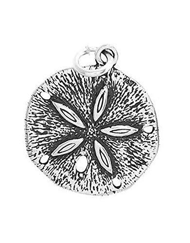 (Sterling Silver Large Sand Dollar Charm/Pendant Vintage Crafting Pendant Jewelry Making Supplies - DIY for Necklace Bracelet Accessories by CharmingSS)