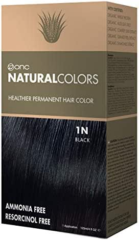 ONC NATURALCOLORS Healthier Permanent Hair Color, Certified Organic Salon Quality Hair Dye, Ammonia-free, Resorcinol-free, Paraben-free, Low pH, Best Hair Coloring (1N Natural Black)