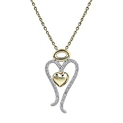Natural Diamond Heart Design Necklace In 925 Sterling Silver