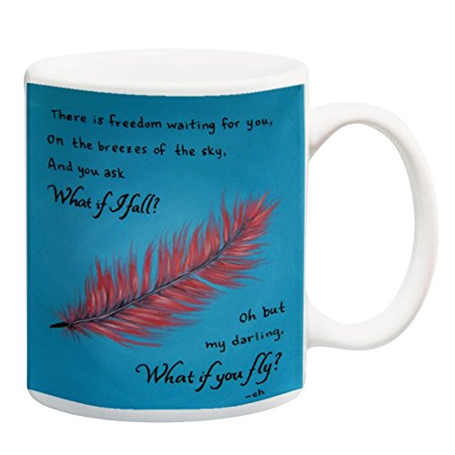 What If You Fly 11 oz Inspirational Quote Coffee Mug Teal and Pink Feather Inspiring Gift for Women by Paintspiration (Image #1)