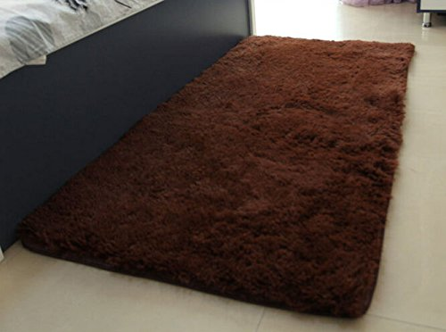 Super Soft Modern Shag Area Silky Smooth Rugs Living Room Carpet Bedroom Rug for Children Play Solid Home Decorator Floor Rug and Carpets 4- Feet By 5- Feet (Chocolate) (Chocolate Transitional Rug)