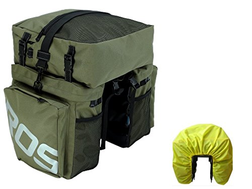 ier Bag Bicycle Rear Rack Bag Waterproof, 3 in 1 Rear Seat Bicycle Saddle Bag with Rain Cover for Cycling (Military Green) ()