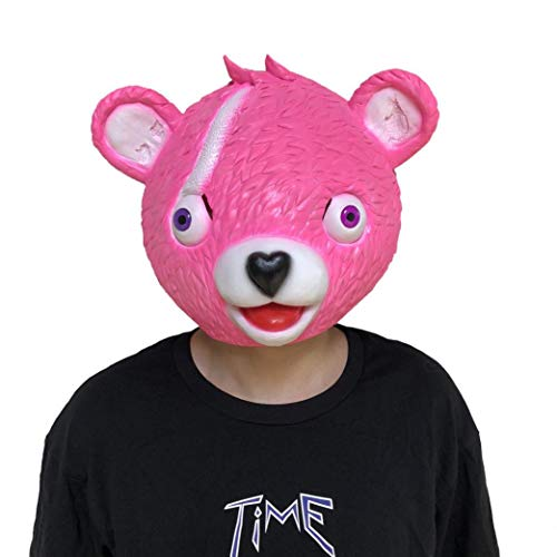 Wenjuan Large Pink Bear Spoof Game Mask Melting Face Adult Latex Costume Cuddle Team Leader Bear Cosplay Toy (Pink)