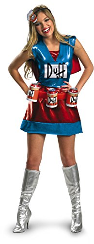 Disguise Unisex Adult Deluxe Duffwoman, Blue/Red/Biege/White, Small (4-6) Costume