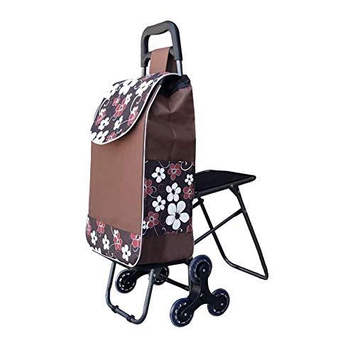 SHIJIAN Carro de la compra para subir escaleras, Carro de compras plegable con servicio de lavandería, carrito de compras...