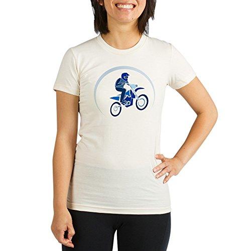 - Truly Teague Organic Womens Fitted T-Shirt Motocross MX Flying Dirt Bike in Blue - Medium
