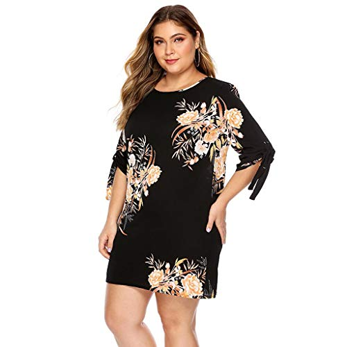 Mikilon Women Plus Size Dress - Floral Casual Half Tie Sleeve O Neck Mini Short Dress Black