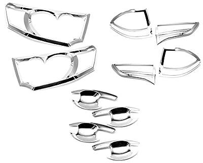Sizver Chrome Headlight+Taillight+Handle Bowl Covers For Mitsubishi Montero / Pajero Sport