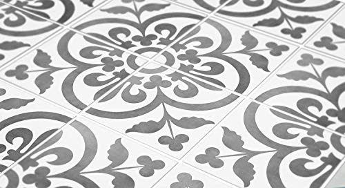 8 Inch Floor Tile - Tiles Stickers Decals - Pack of 10 Tiles - 10 Individual Tiles - Tiles Decals (Floor - 8 x 8 inches - 20.3 x 20.3 cm, Portuguese Encaustic Tile Decal)