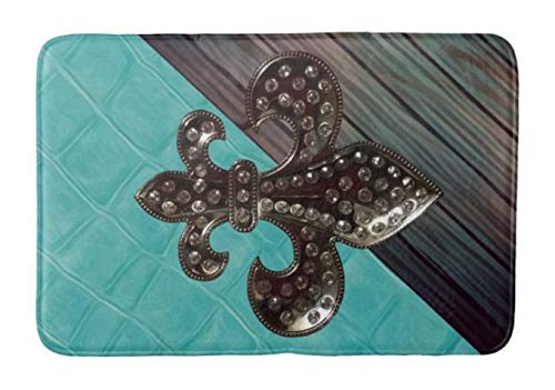 Lovestand-Doormat Welcome Mat Indoor/Outdoor Bath Floor Rug Decor Art Print with Non Slip Backing 30X18 inch Fleur de lis and Painted Teal Leather Bathroom mat ()