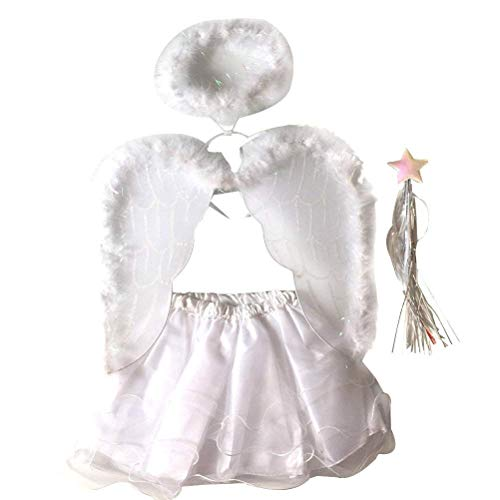 4PCS Angel Costumes Headband Wing Wand Tutu Skirt Set Girls Fairy Dress Outfit Halloween White -