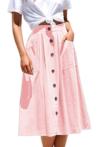 Meyeeka Women's High Waisted A Line Street Skirt Button Up Skater Pleated Full Midi Skirt - Skirt Cotton Pink