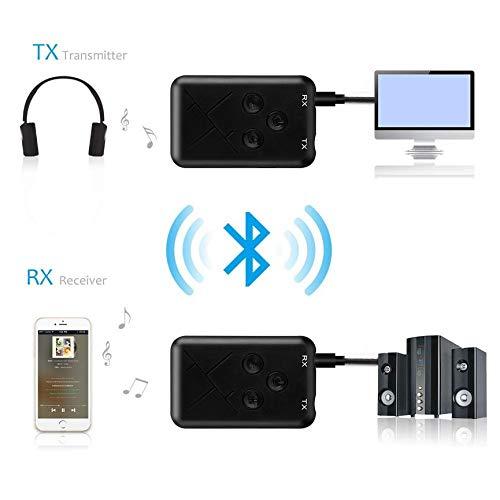 Peanutaso Transmisor de Audio inal/ámbrico 2 en 1 Receptor transmisor 2 en 1 Adaptador de transmisor de 3,5 mm Adaptador 2 en 1