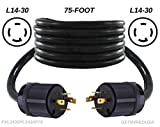 getwiredusa 75FT L14-30P Twist Lock Generator Male 4-Pin Plug Cord Adapter, Transfer Switch Connector Cable FXL1430PL1430P-75