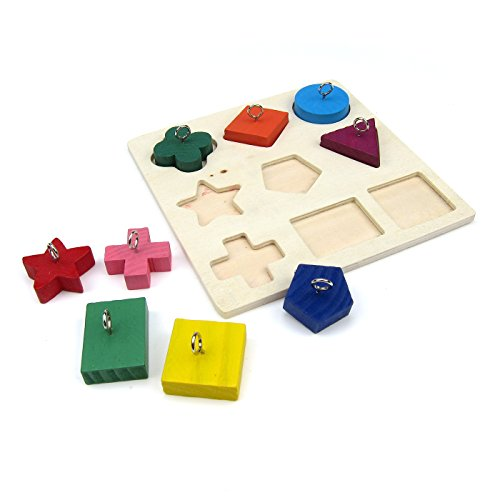 Alfie Pet by Petoga Couture - Juneau Educational Color and Shape Training Wooden Block Toy for Birds - Pattern: Square