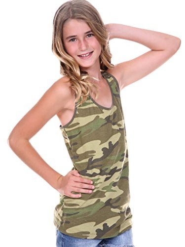 Tank Army Girl (Kavio! Big Girls 7-16 Camouflage Racer Back Tank Camo Army Green M)