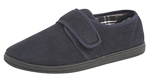 Sleepers Mens Gents Memory Foam Navy Velcro Slippers Hard Wearing Sole Size 6-12 NmfpMjqUJ