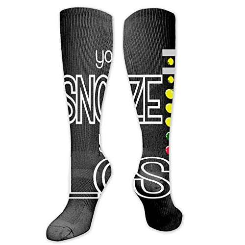 Michael Trollpoe You Snooze You Lose Compression Socks for Women&Men-Best for Running,Cycling,Sports,Nurse,Warm