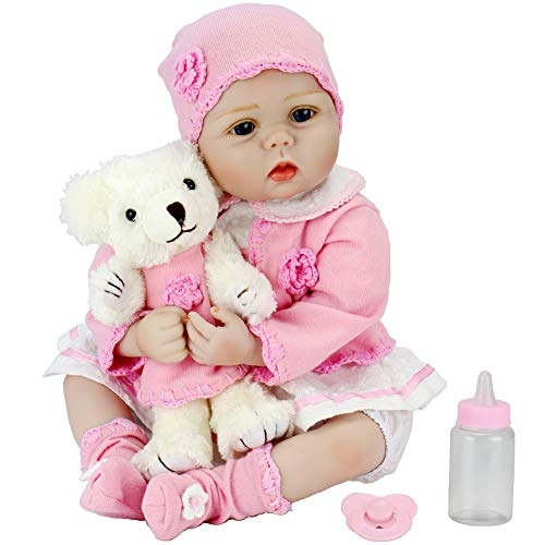 Aori Lifelike Reborn Baby Doll with Soft Body Realistic Toy Doll 22 Inch Teddy Gift Set for Girl Ages 3+ from Aori