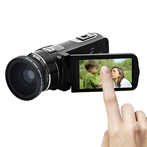 """Camcorder 1080p @30fps Video Recorder 24.0MP Digital Camera Wide Angle Lens 3"""" Touchscreen 16x Digital Zoom With Adapter Charger"""