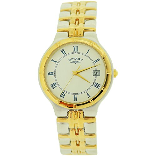 Rotary Gents White Dial Date Two Tone Metal Bracelet Strap Watch BG04014/01