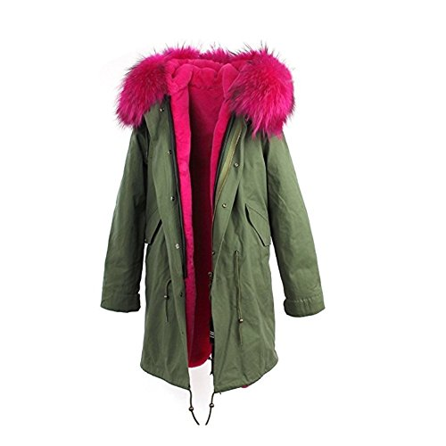 JBZYM VD79007C2 Women Hooded Parka Faux Fur Winter Warm Long Jacket Coat Detachable - Size M