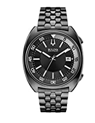 Bulova Accutron II Men's UHF Watch with Black Dial Analogue Display and Black Ion-Plated Bracelet - 98B219