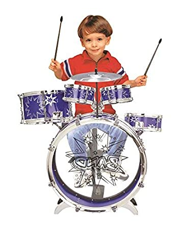 RED BIG BAND CHILDRENS RED BLUE ROCKSTAR DRUMS PLAY SET MUSICAL SOUND PERCUSSION TOY