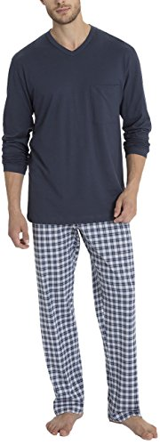 Calida Pajamas Mens Larry v Neck Cotton Knit Pajama Set 40666 (478, Small)