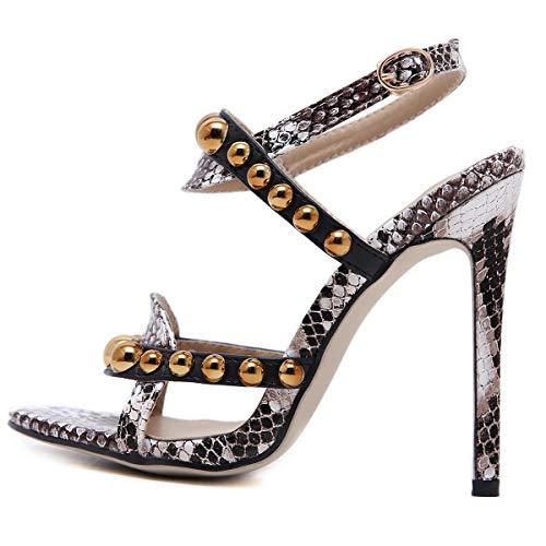 Y Zapatos De Alto Con Mujer Sesgo Para 1 Sandalias Punta Piel Tacón Serpiente Abierta Fengjingyuan Abiertos wIftvqc