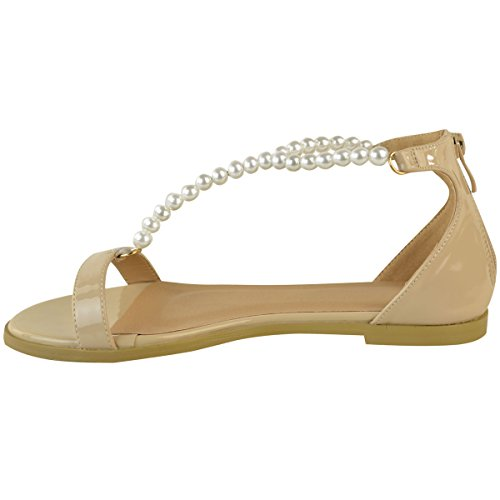 Summer Heel Womens Thirsty Patent Faux Flat Low Fashion Pearl Nude Sandals Strappy t7Swg