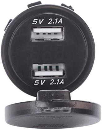 RETYLY 12V / 24V 急速充電4.2の自動車用シガーライターのソケット、ダブルUSB充電器Led電圧計、レッド
