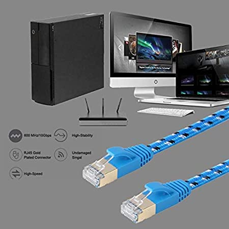 Small-Chipinc 1m//2m//3m Cat7 Ethernet Cable Flat RJ45 Networking LAN Cords Jumper Gigabit 26AWG Wire metal shell shield cord for network