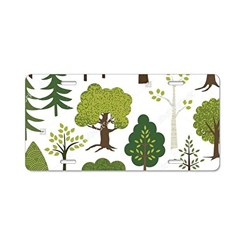 YEX Tree Pattern License Plate with 4 Holes Novelty Car Licence Plate Covers Tag Sign 12