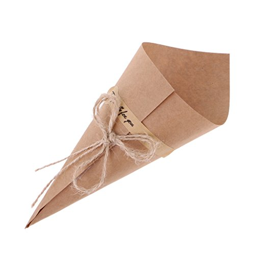 Yalulu 50Pcs Brown / Black Wedding Favors Kraft Paper Cones Candy Boxes Ice Cream Flower Holder DIY Wedding Table Decor Party Gift Box (Brown)